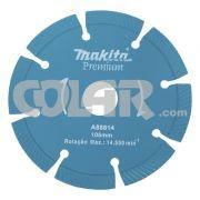 Disco Para Serra Mármore A88814 Premium - Makita - Disco Diamantado Segmentados.     Medidas: Diâmetro 105 MM.     Furo: 20 MM.     Aplicação: Concreto e Similares para Cortes á Seco. www.colar.com