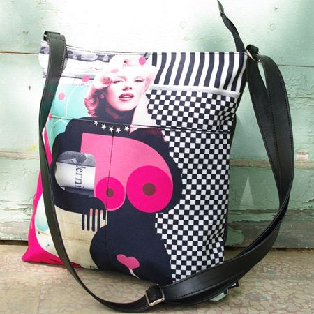 """Bag with pockets """"Walking with Marilyn"""" """"Steal"""" some of Marilyn's glow. A vintage handbag with an intense personality. With many pockets that help will organize your things. A bold modern collage in shades of imposing black and romantic/dreamy pink."""