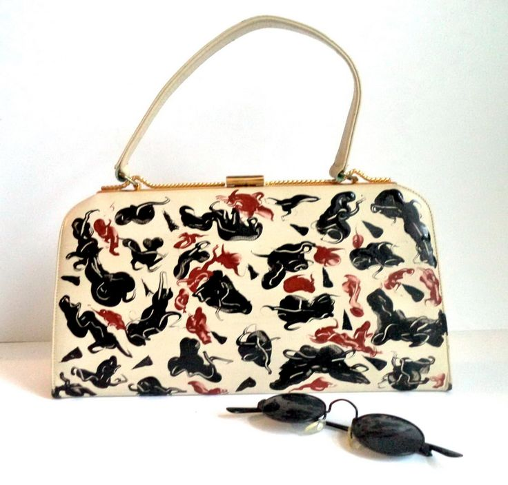 Animal Print Painted Kelly Handbag Bag Retro 60s Vegan Top Handle Ivory Bag Black Brown Gold Groovy Mod Jackie O Satchel Prop Movie Gift by MushkaVintage3 on Etsy