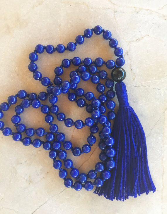 Mala Necklace Knotted Blue Riverstone Black by SunShineGirlCompany