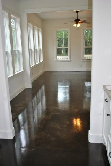 DIY stained concrete basement floors.  Wonder if this will be good over old asbestos tile.