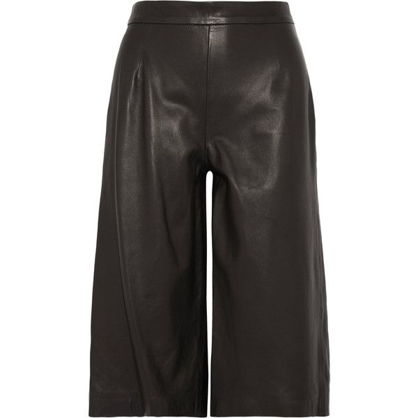 Iris and Ink Leather culottes ($390) ❤ liked on Polyvore featuring pants, capris, black, stretchy pants, leather pants, high rise pants, wide-leg pants and stretch leather pants