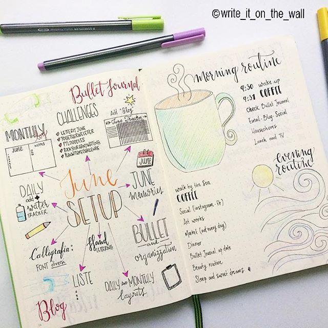 bullet journal, caligrafia, rotina matinal, caderno, desenhos, colorido.