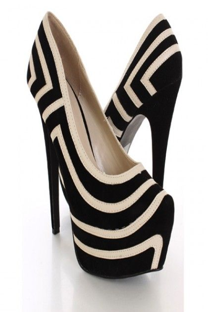 Black Two Tone Platform Pump Heels