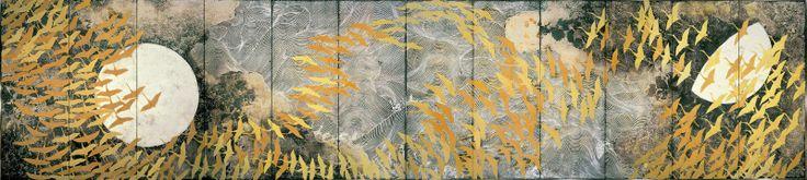 A Thousand Cranes, by Kamaya, Matazo, 1970 (A pair of six-fold silk screens)