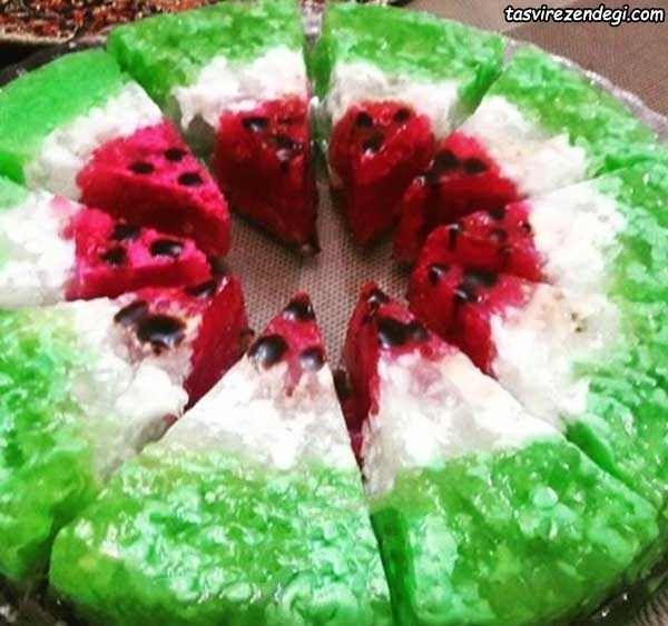 طرز تهیه ژله رنده هندوانه ای شکل دسر شب یلدا مجله تصویر زندگی Parfait Recipes Food Cake Designs