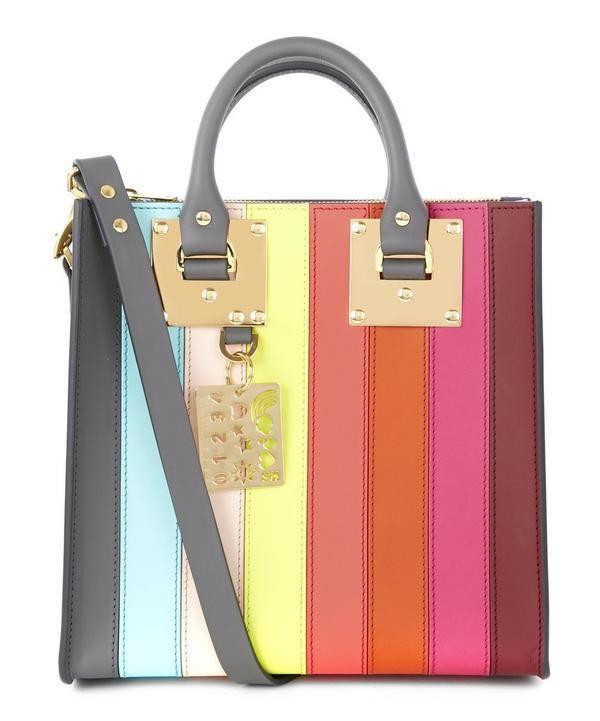 Sophie Hulme Square Albion Striped Saddle Leather Bag | Accessories | LibertyLondon.com