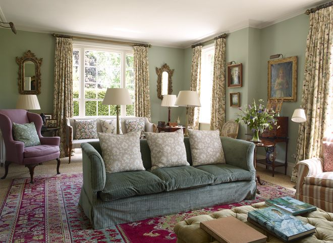 very English sitting room, The Old Rectory, designer Melissa Wyndham
