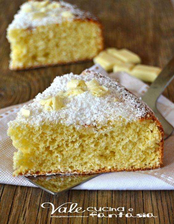 Torta al cocco con cioccolato bianco e ricotta soffice facile e veloce una torta morbida e golosa con tanta farina di cocco ricotta e cioccolato bianco