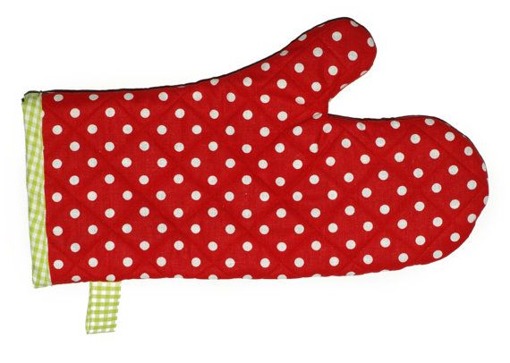 Red oven mitt Red oven gloves Red kitchen by Luciadesign on Etsy