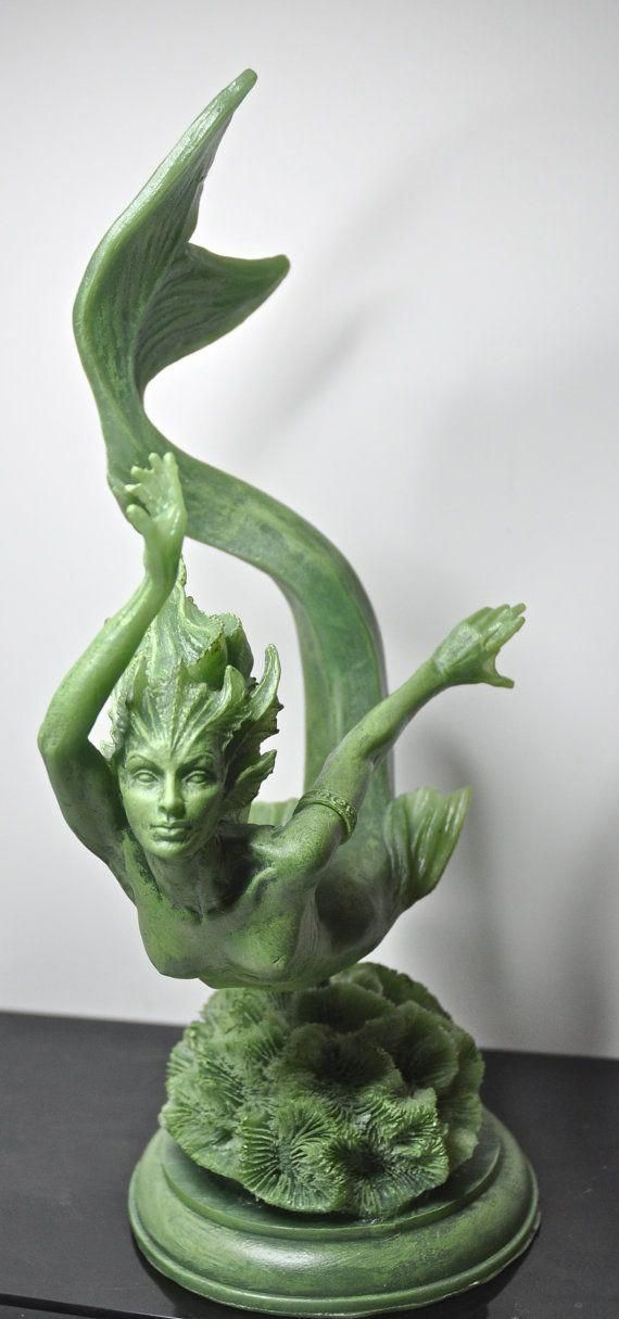 Mermaid 20 Holding A Shell Fountain Bronze Statue - Size