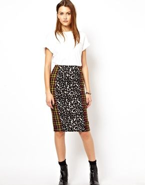 ASOS Africa Pencil Skirt In Leopard Check | Sustainably designed in partnership with a rural Kenyan community | $75.22