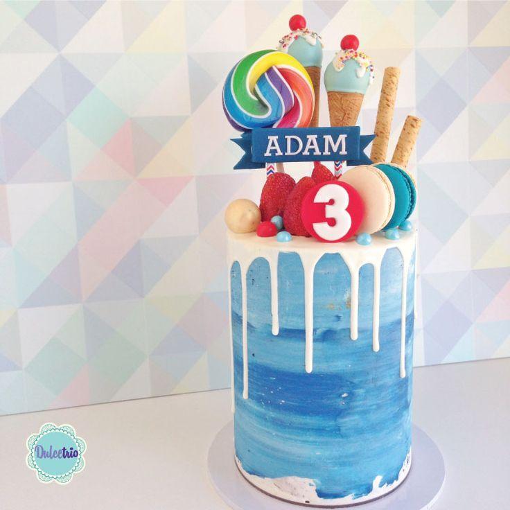 #deepblue #watercolors for a #3rdbirthday celebration. #kidspartyideas #boycakes #nakedcake #birthdaycake #deliciouscake #macaroons #chocolatedrip