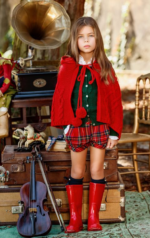 .Tartan Beauty girls coat & boots fashion