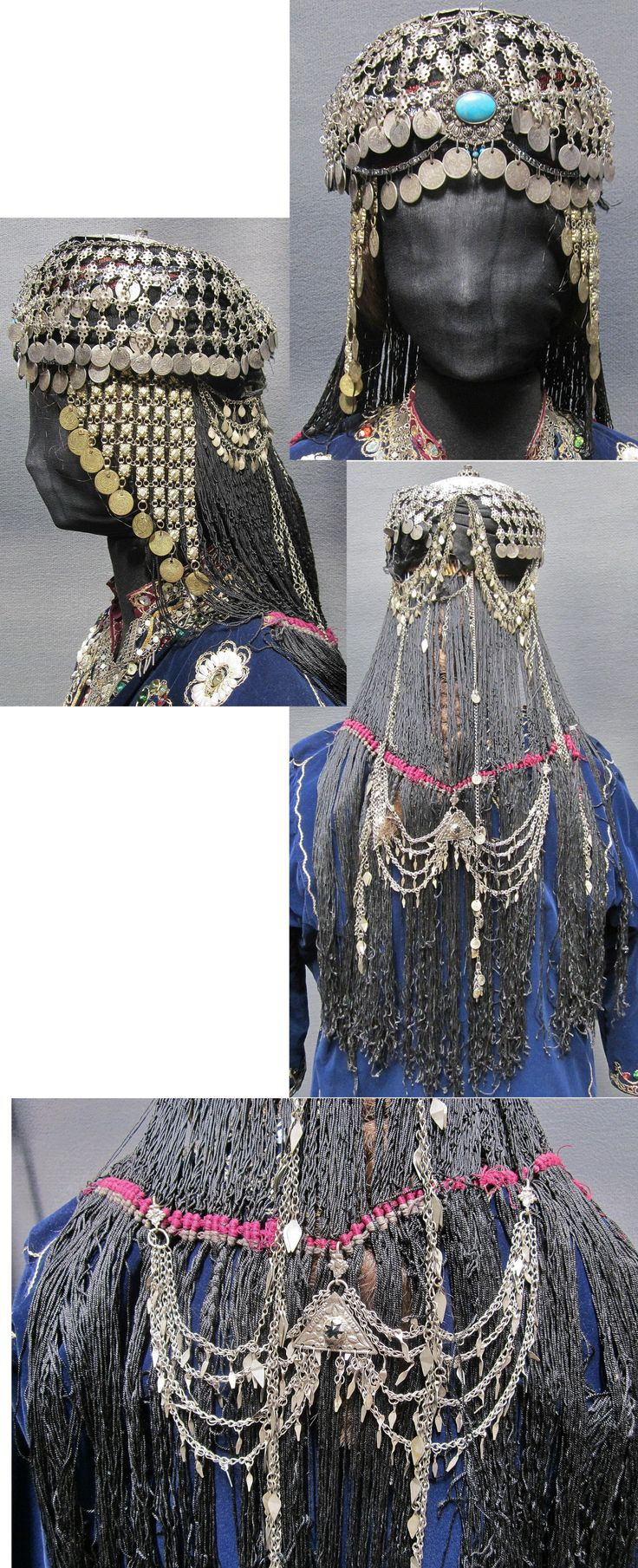 Traditional bridal/festive headgear from the Urfa province. Upper part: silver 'tepelik' (hat cover) and plates in alpaka (nickel silver); side parts: small (partly gild) silver plates; turquoise, chains, late-Ottoman silver & copper coins; imitation-hair in 'ibrişim' (thick black silk threads); decorative jewel on the back. Recomposed with predominantly antique material (ca. 1900). Used by both Kurds and Arabs. (Inv.nr. ba$016 - Kavak Costume Collection - Antwerpen/Belgium).