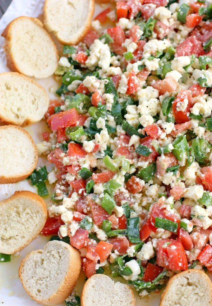 Easy Feta Dip -  I made this one this weekend & it was a hit.  I added chopped olives & cucumber and used Greek dressing instead of the oil and seasoning
