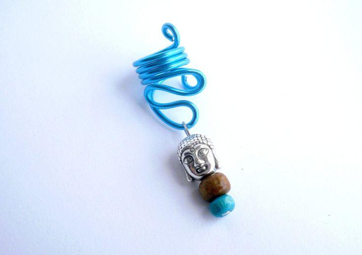 Bijou pour dread bouddha en fil d'aluminium bleu clair et perles de bois : Autres bijoux par stonanka