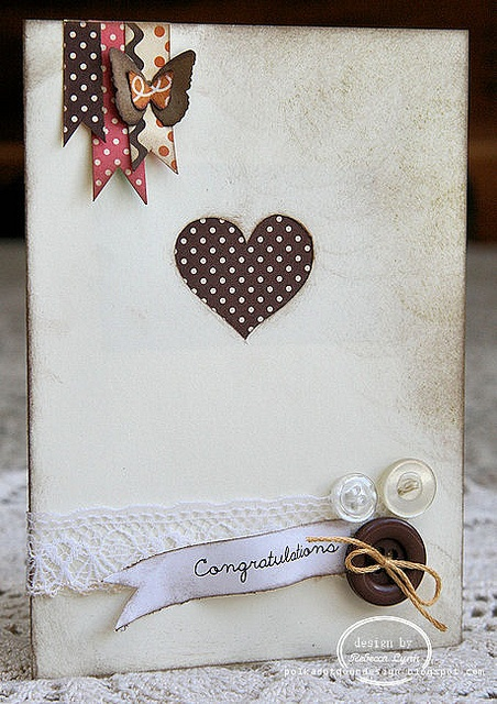 Polka Dot Door heart and buttons card