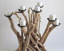 Driftwood Ocho candelabros, pieza central Driftwood, Driftwood Candelabro, Playa Decoración, Driftwood Arte, Decoración rústica, Madera Candelero
