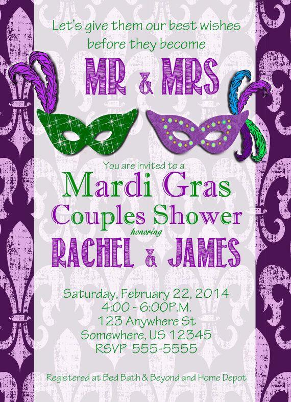 Mardi Gras Couple Wedding Shower by ClassyYetSassyInvite on Etsy, $10.00