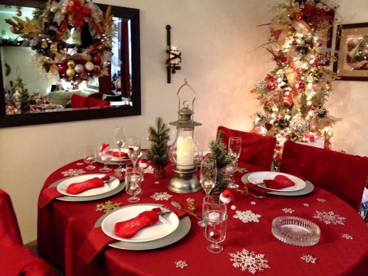 Christmas table setting ideas red white silver christmas decorations pinterest ideas - Red and silver centerpiece ideas ...