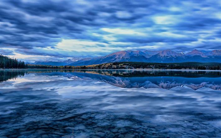 Descargar fondos de pantalla lago, puesta de sol, noche, bosque, parque nacional de Jasper, Alberta, Canadá