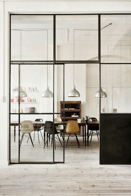 Thin iron frames, simple squares, sliding door, black bottom piece. Industriel / Pastel à Copenhague