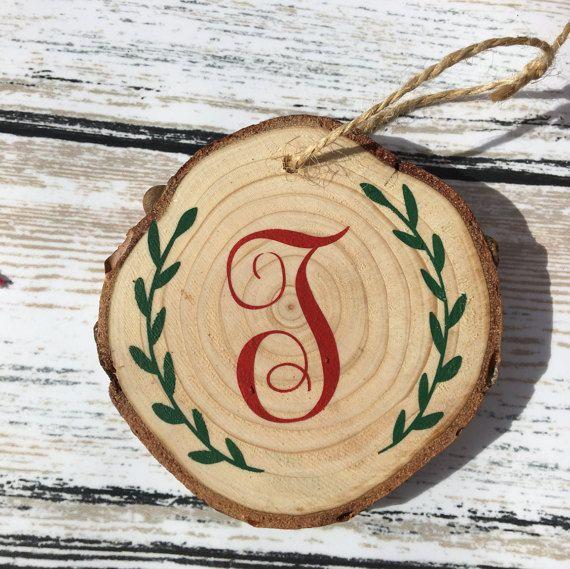 Christmas tree wood slice ornament