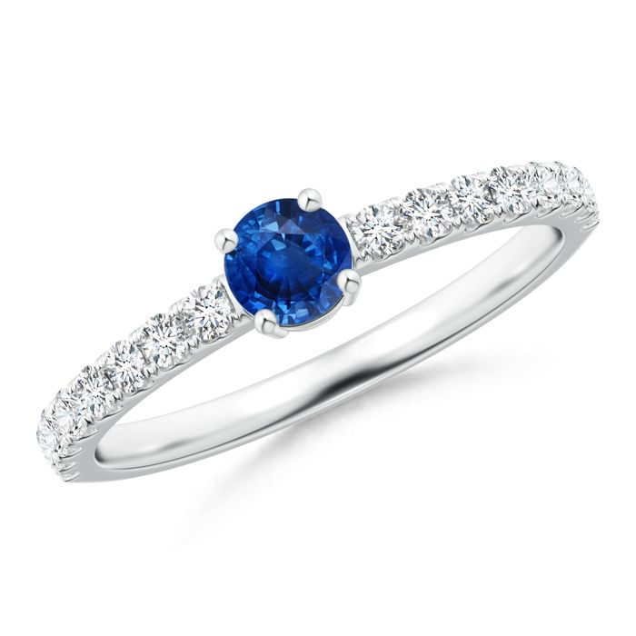 Angara Bezel Framed Round Blue Sapphire Diamond Promise Ring in Platinum 3pqK5D