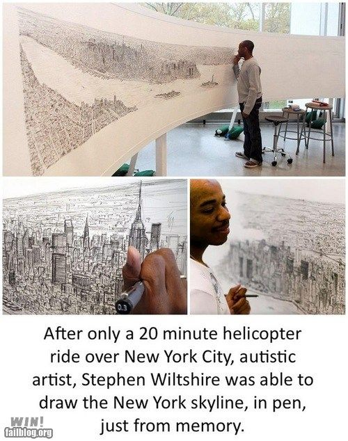 Amazing: After only a 20 min helicopter ride over NYC, autistic artist, Stephen Wiltshire was able to draw the skyline...from memory.