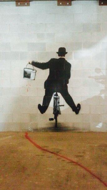 'Charlie Chaplin with Paint Bucket on a Bike', Street Art, Graffiti Art, Pop Art.                                                                                                                                                      More