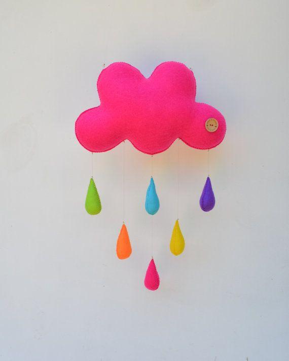 BIG bright cloud mobile handmade childrens by MilbotandChooky, $72.00