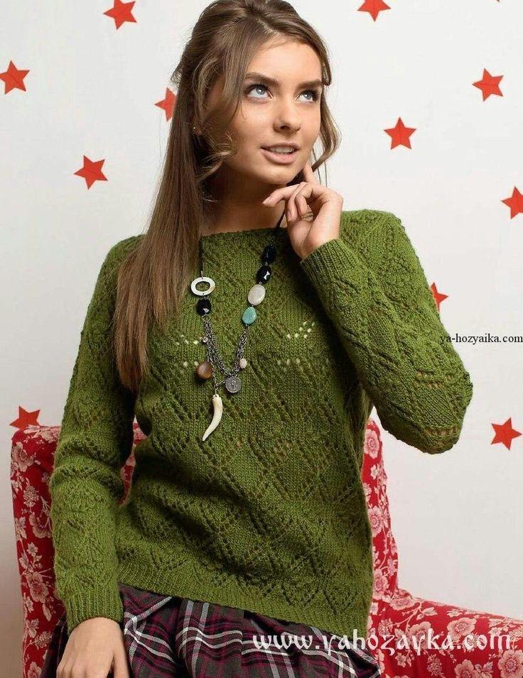 Пуловер из ромбов