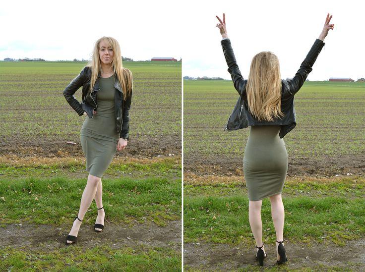 Biker jacket, dress, heels, blond, nature, simple