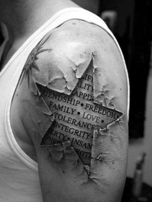 40 3D Star Tattoo Designs für Männer – Cool Ink Ideas