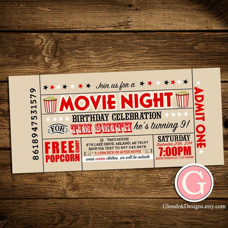 movie ticket stub wedding invitation%0A Movie Night Invitation  Vintage Ticket Style Birthday Boy Girl Twins   Adult Party Outdoor