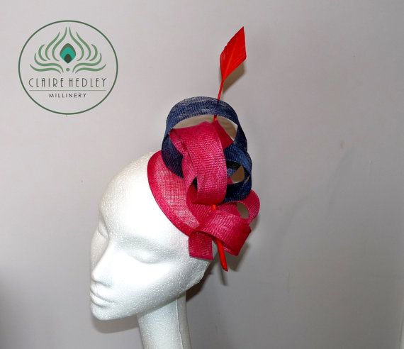 Fuchsia and navy blue sinamay fascinator by ClaireHedleyMilliner