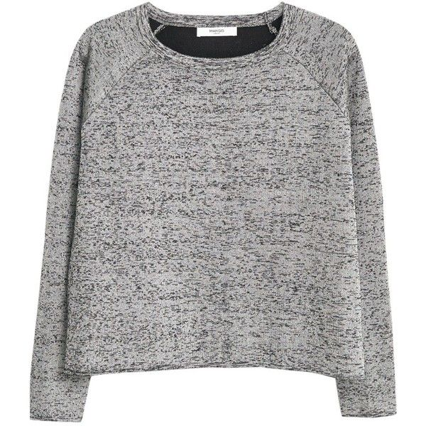 Mango Flecked Jumper, Medium Grey found on Polyvore featuring tops, sweaters, shirts, haut, shiny shirt, longsleeve shirt, grey sweater, extra long sleeve shirts and long sleeve shirts