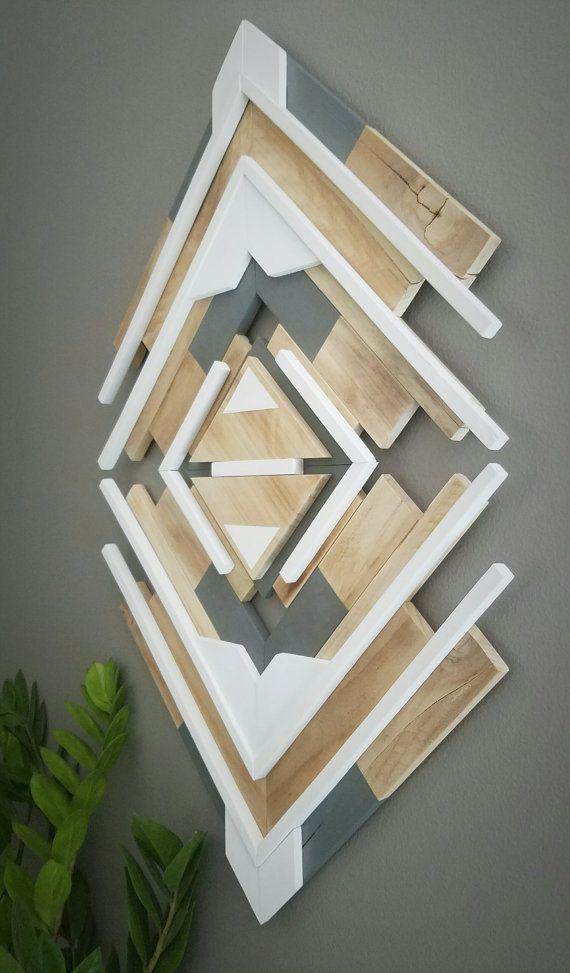 One Of A Kind  Reclaimed Wood Wall Art  Handmade  Geometric