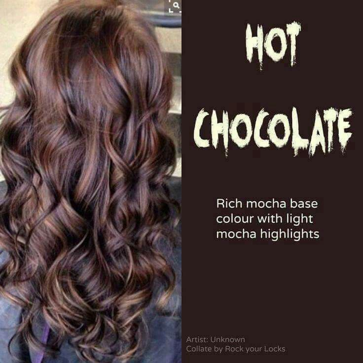 Hot chocolate hair color. Love this color