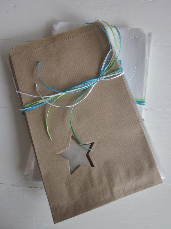 Favor bags---Kraft papieren zakjes met een klein ster venster set van 20 van Natron kraft/ouderwetse marktzakjes --- Voor je bruiloft of verjaardagsfeest