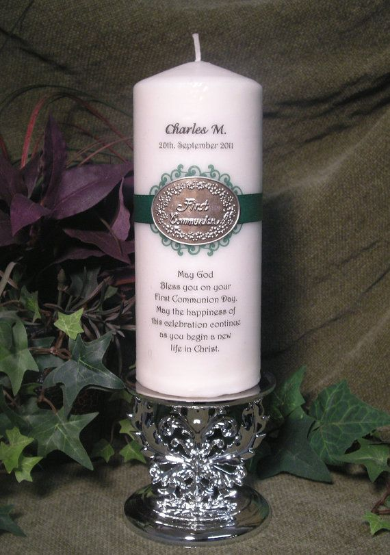Personalized First Communion Candle With Metal By