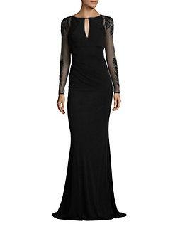 David Meister - Beaded Sheer Sleeve Gown