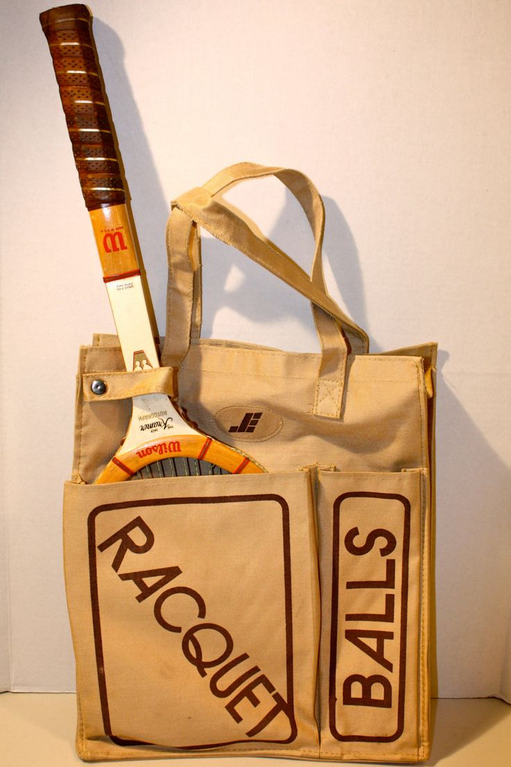 Vintage 70's tennis racket racquetball sports bag tote tennis balls tote carrier tan light brown by TraderTumbleweeds on Etsy