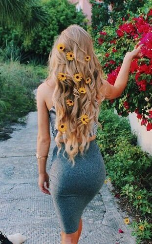 long hair with flowers.