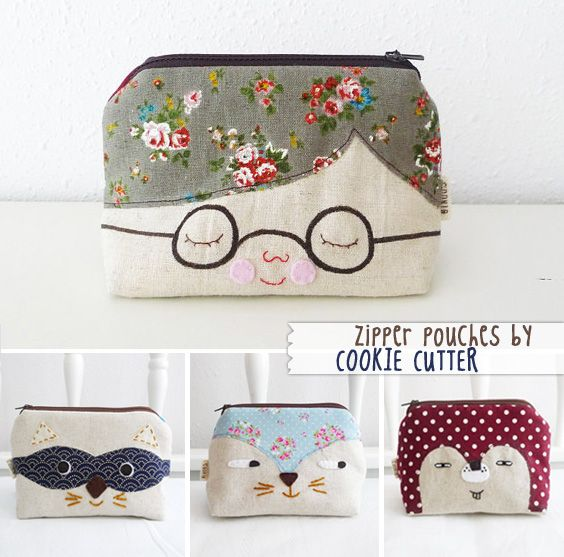 Zipper pouches by Cookie Cutter via ImaginativeBloom.com