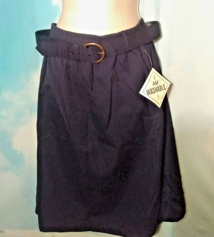 Basic Black Women's Skirt Belt Size L Pleated NWT Made in USA Career Wear #Joanna #Pleated
