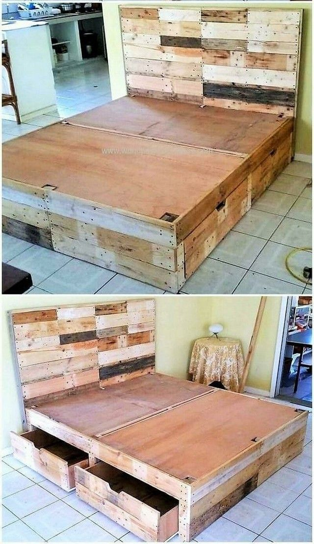 15 Awesome Homemade Bed Frame Plans With Images Wood Pallet
