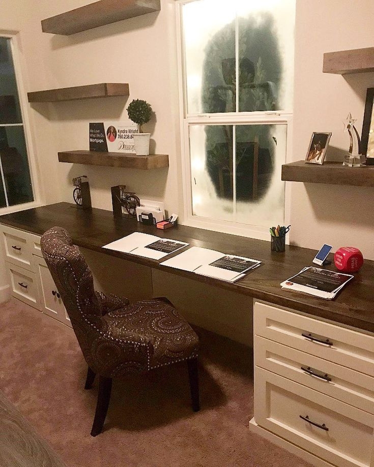 Rustic Roots : custom made built-in desk and floating shelves . Perfect got a sm…