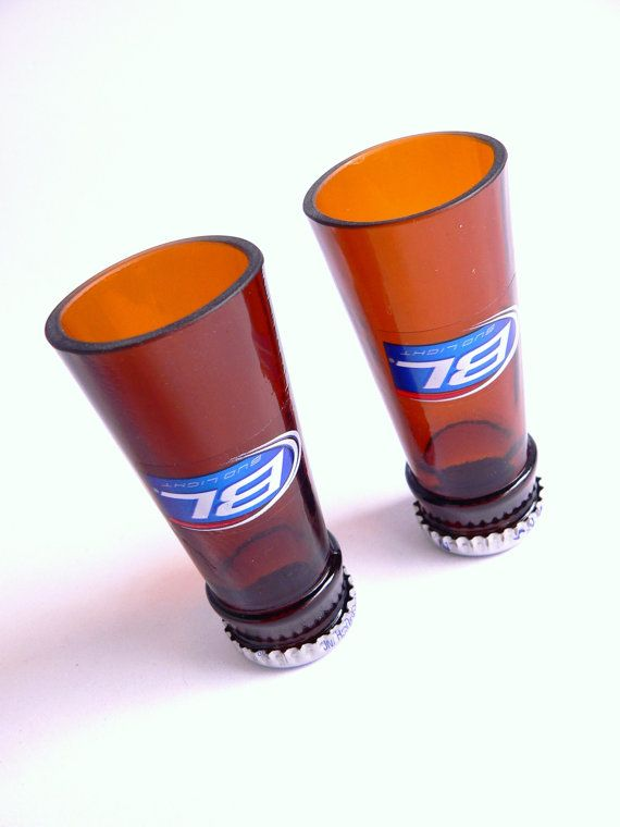 Bud Light Beer Bottle Shot Glasses Set of 2 by BoMoLuTra on Etsy, $8.99